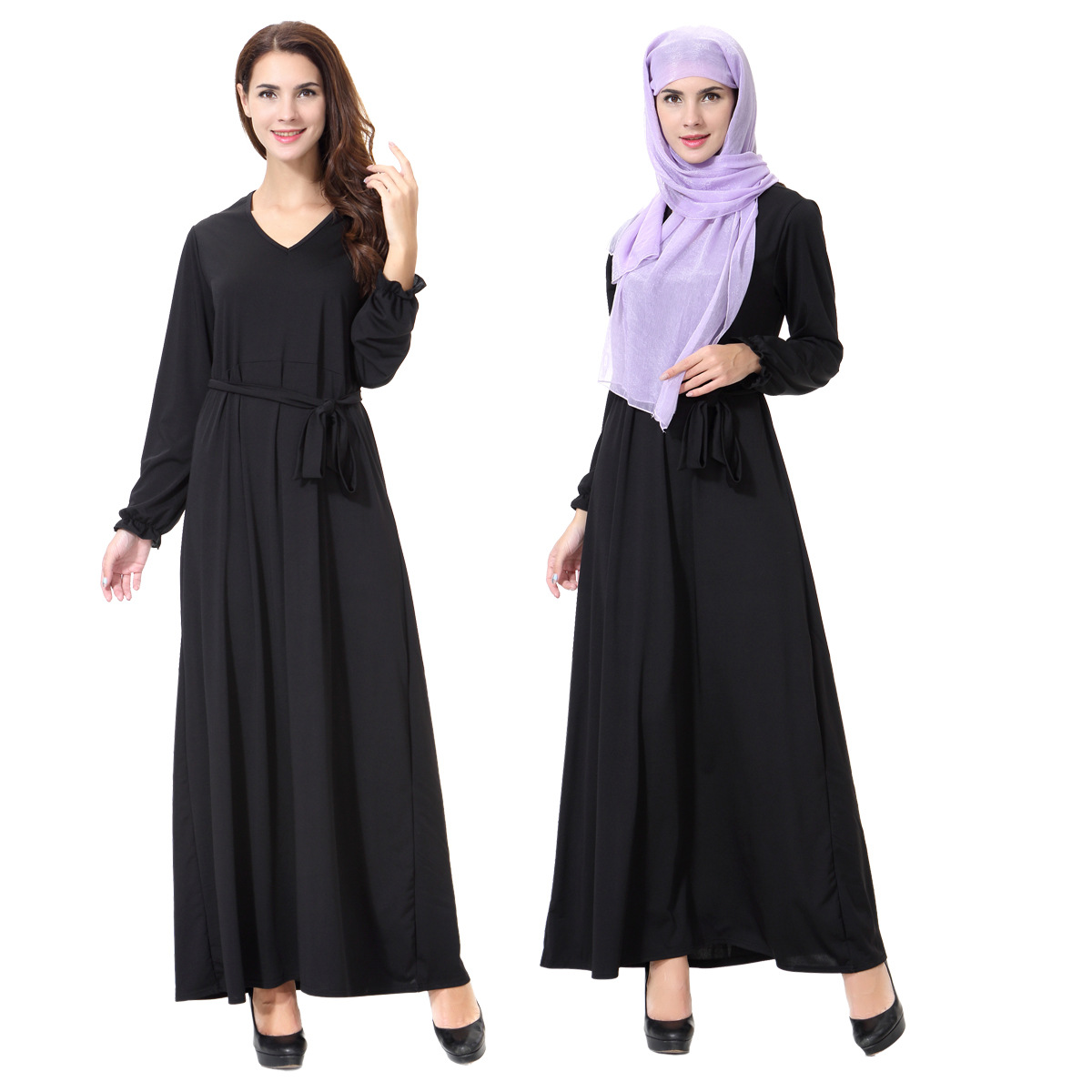 Muslim Arabia Middle East ladies gown, black dress abaya