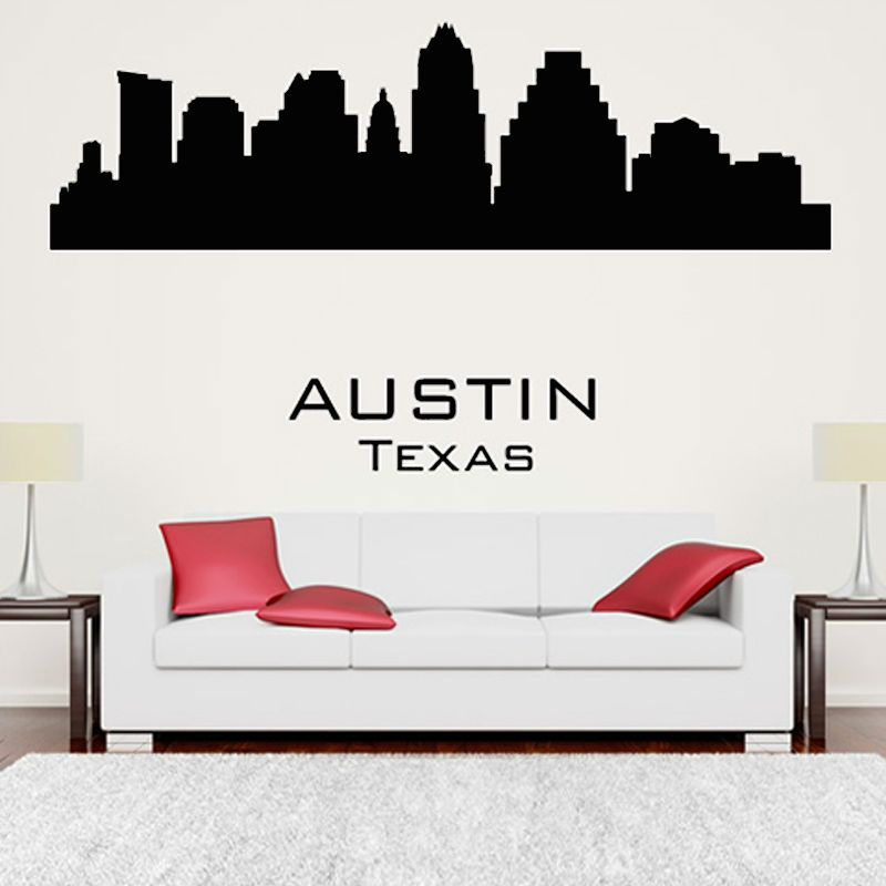 product Austin Texas Wall Sticker City Silhouette Adhesive Living Room Vinyl Removable Wall Decal Home Decor