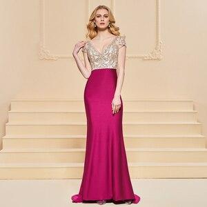 Image 2 - Vestido de noche de sirena, mangas cortas elegantes, sin tirantes, largo hasta el suelo, con cuentas, para fiesta de boda, formal