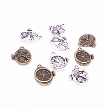 Sweet Bell 30Pcs18*20mm Vintage Metal Steampunk Watches Clock Gears Charms two color Zinc Alloy Small Watches Clock Charms D1213