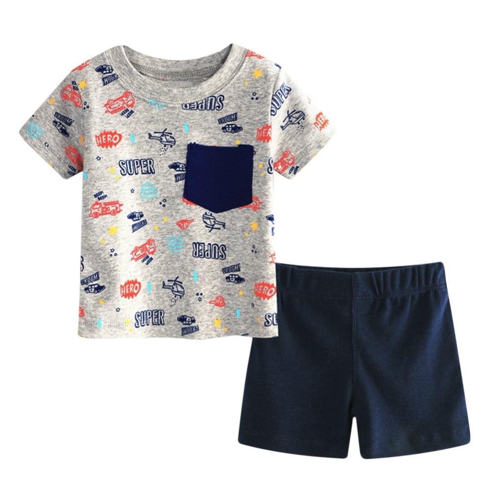 hot sale Baby boy clothes summer kids clothes sets t-shirt+solid pants suit Clothes newborn sport suits