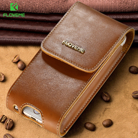 FLOVEME Luxury Genuine Leather Cases For IPhone 6 Plus 6S Plus Cellphone Case With Clip Belt