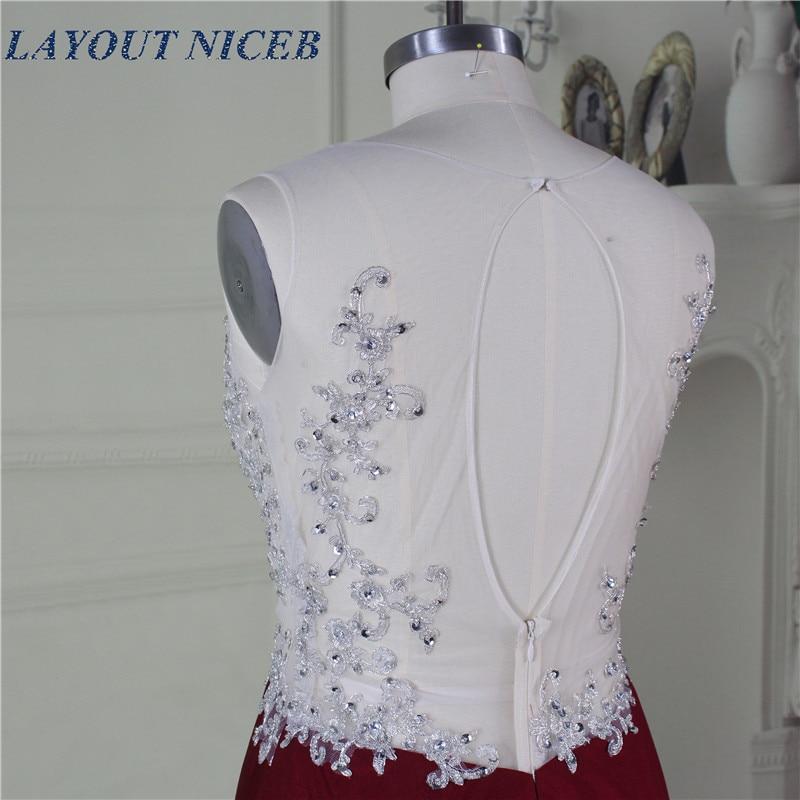 Elegant Robe de Soiree Illusion Halsband Fram Split Sexig Bourgogne - Särskilda tillfällen klänningar - Foto 6