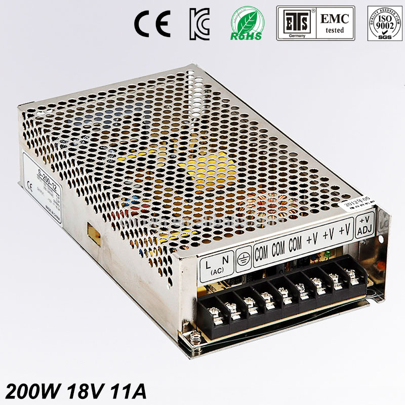 18V 11A 200W Switching switch Power Supply For Led Strip Transformer 110V 220V AC to dc SMPS with Electrical Equipment 18v 11a 200w switching switch power supply for led strip transformer 110v 220v ac to dc smps with electrical equipment
