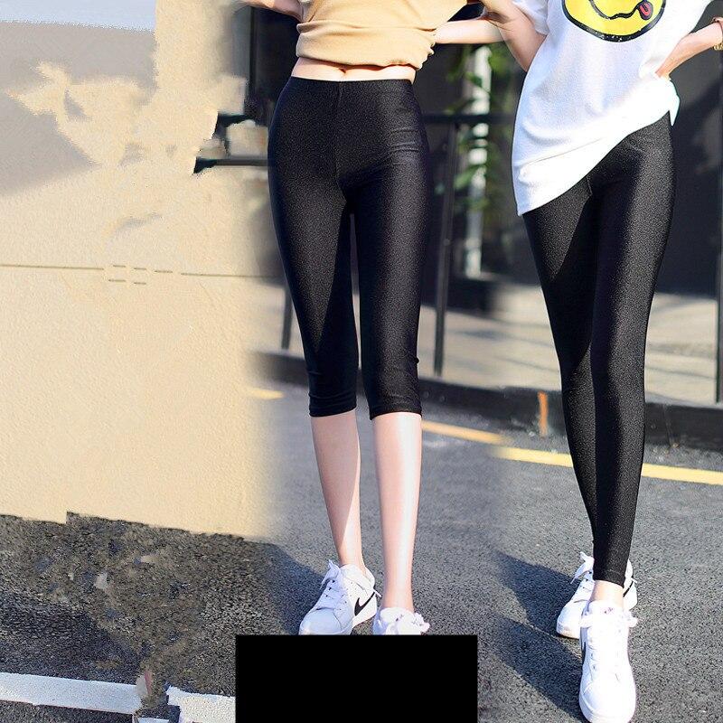 Women's black polyester   leggings   neon spandex   leggings   ladies high waist stretch skinny spandex   leggings   women
