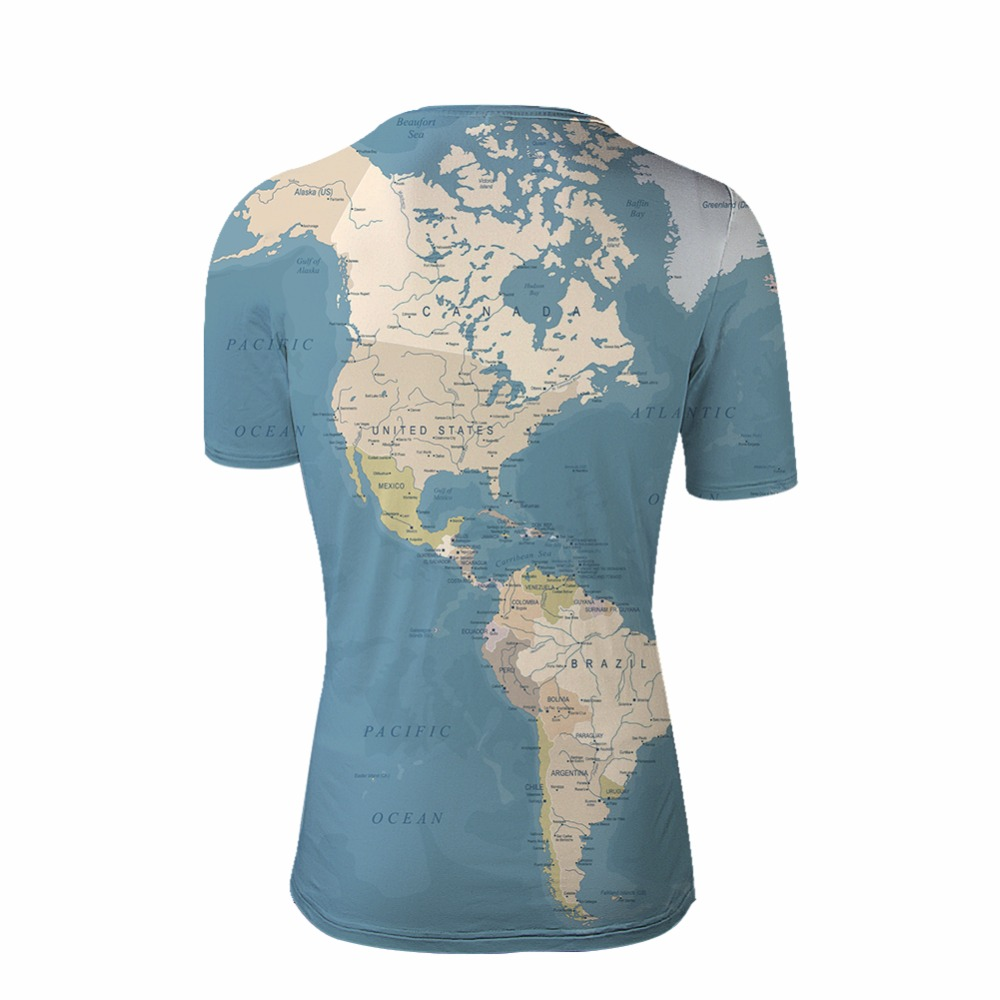 FORUDESIGNS Fashion Wholesale 3D Printl Man 39 s World Map Design Short Sleeve T shirt Elastic Bodybuilding Male Tees Summer Tops in T Shirts from Men 39 s Clothing