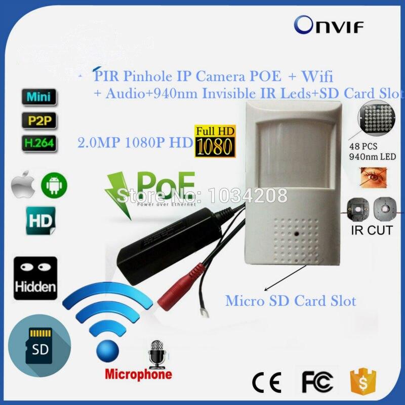 HD P2P sony 323 1080 P 2MP POE Мини IP Пинхол Wi-Fi Беспроводной PIR IP Камера 940NM Невидимый Ночное видение/ onvif/Аудио/Слот для карты Sd