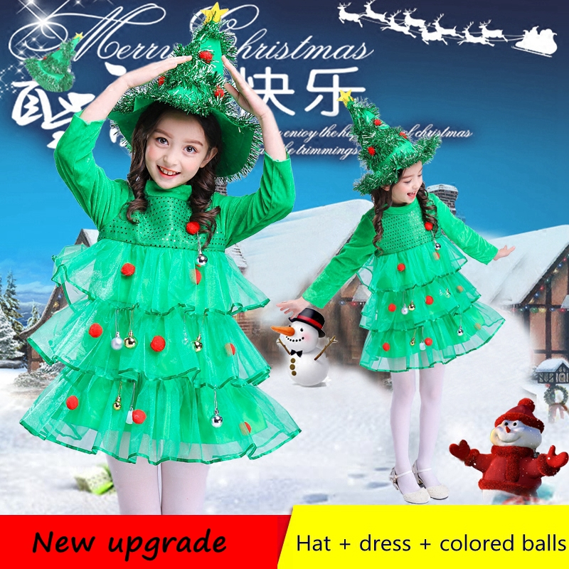 Hot Style Kids Christmas Tree Costumes Princess Dress for Girls Children's Holiday Dress Christmas New Year Performance Clothing