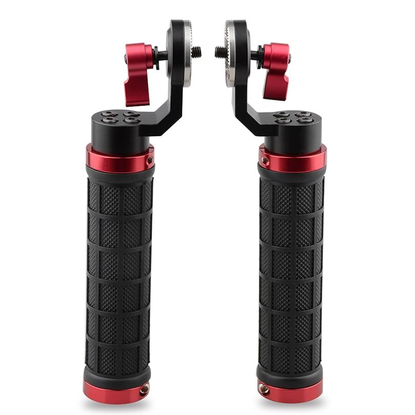 CAMVATE Dual Camera Grip DSLR Shoulder Rig Fotografia Cage Kit For ARRI Style Rosette Rubber Handle
