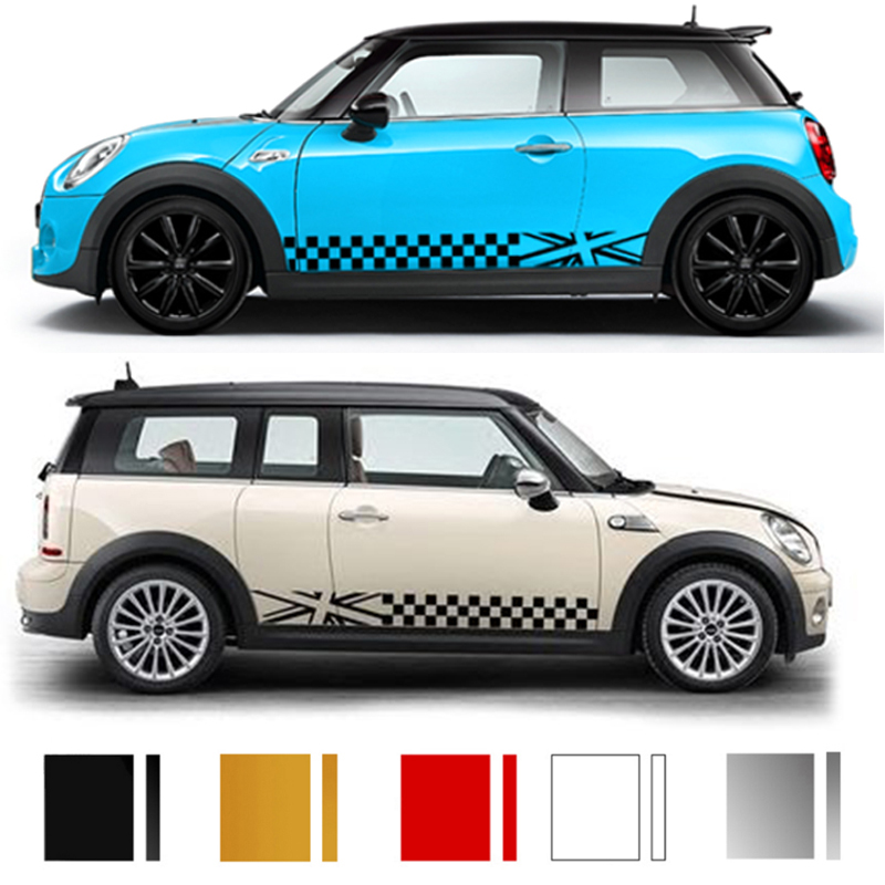 Checker Car Door Side Waist Line Sticker Decal For Mini Cooper S JCW One F54 F55 F56 F60 R55 R56 R60 R61 Car-Styling Accessories aliauto car styling side door sticker and decals accessories for mini cooper countryman r50 r52 r53 r58 r56