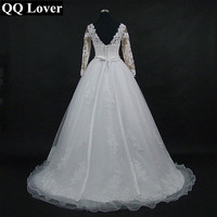 QQ Lover 2018 Skin Color Cheap Vestido De Noiva Full Sleeves Lace Plus Size Wedding Dress