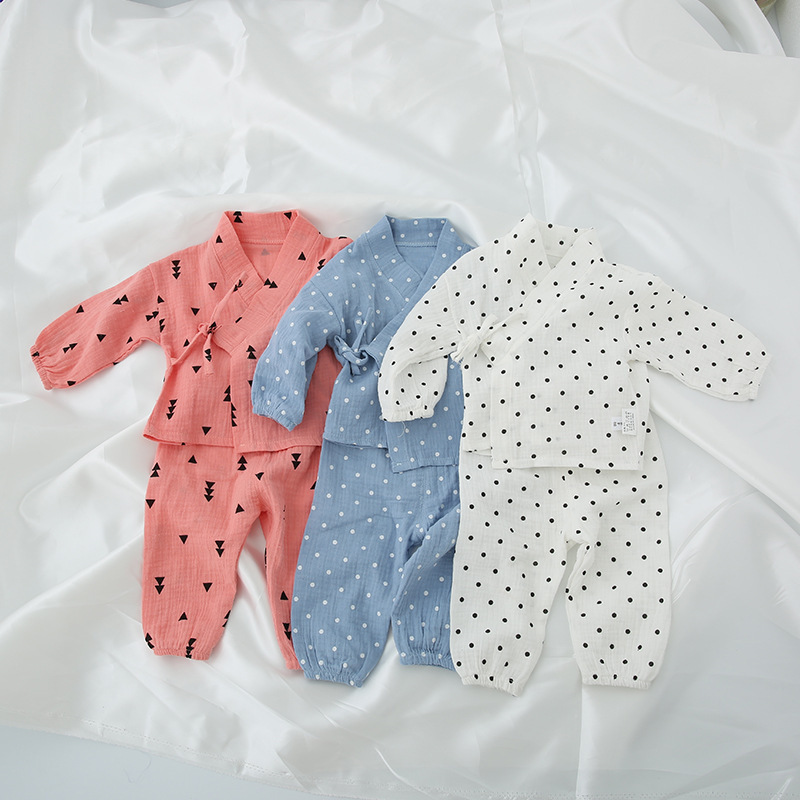 2017 New Arrival Autumn Baby Sleepwear Set Boys Japanese Style Infant Girl Clothes Newborn Cartoon Dot Printed Costume 2pcs Set