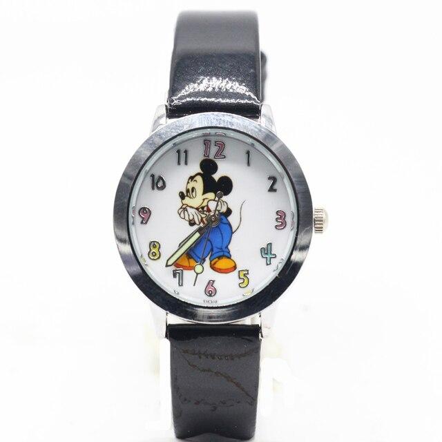 Cartoon Fashion mickey watch unisex Leather quartz wristwatch For Children watch