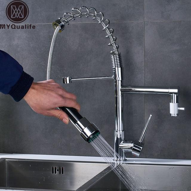 chrome finish dual spout kitchen sink faucet deck mount spring rh aliexpress com chrome kitchen sink soap dispenser chrome kitchen sink waste