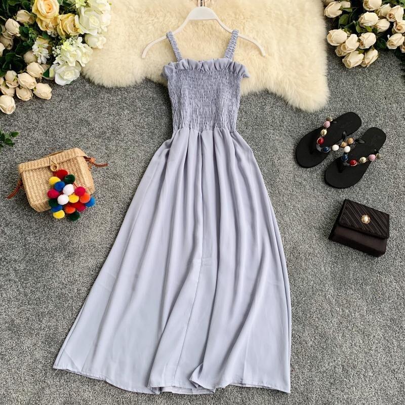 Женское платье без рукавов OCEANLOVE, длинное шифоновое платье А-силуэта на кнопках в Корейском стиле, лето 2020 11746