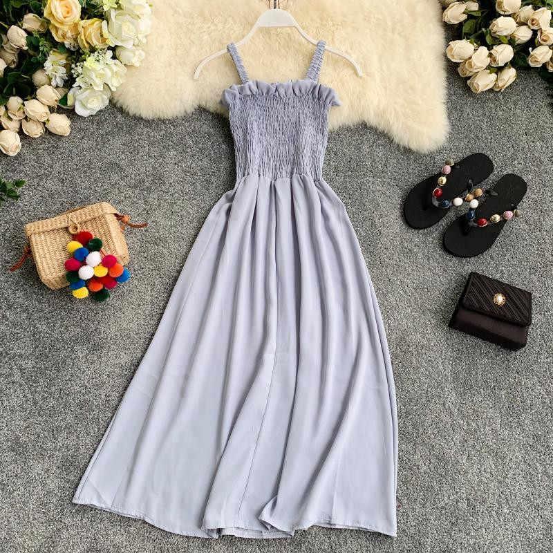 Роскошное корейское однотонное женское платье без рукавов, лето 2019, ТРАПЕЦИЕВИДНОЕ шифоновое длинное платье, пляжный стиль, на пуговицах, Vestidos 11746