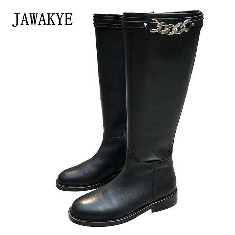 2018 Chic Chain Knee High Boots Woman Round Toe Side Zipper Real Leather Long Boots Women Fashion Knight Boots