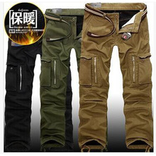 29-40 Plus size warm winter Men's Cargo Pants Casual Mens Pant Multi Pocket Military Overall for Men Outdoors Long Trousers