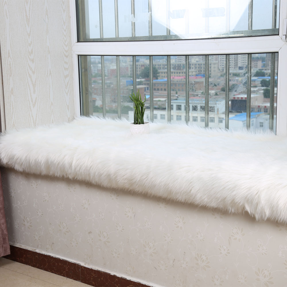 hairy artificial sheepskin fur fluffy flower chair seat sofa cover