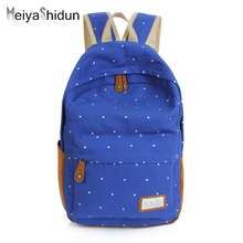 MeiyaShidun Vintage Canvas Backpack Women Printing Backpacks School Bag for Teenage Girls Rucksack Laptop daypack Bolsa Mochilas