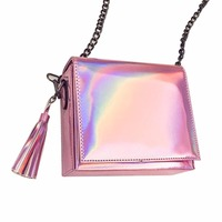 2018 Hologram Laser Small Flap Single Shoulder Bag Teenage Girls Tassel Chains Bag Messenger Bag Women