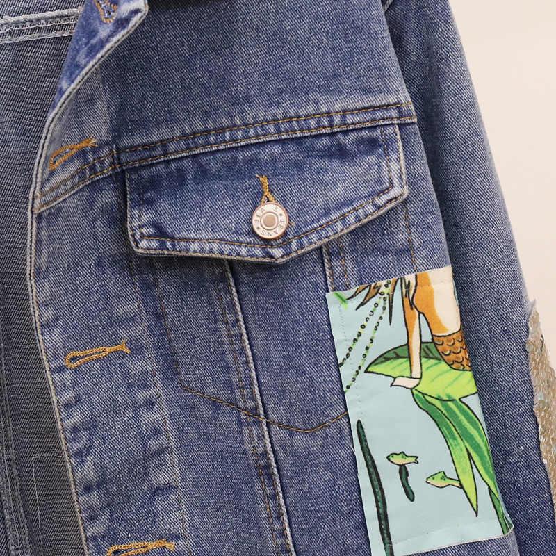 Cakucool Boho Denim jacke Weibliche vintage cartoon appliques Embroid Mantel Jeans Frühjahr Gespleißt oberbekleidung denim jacken für frauen