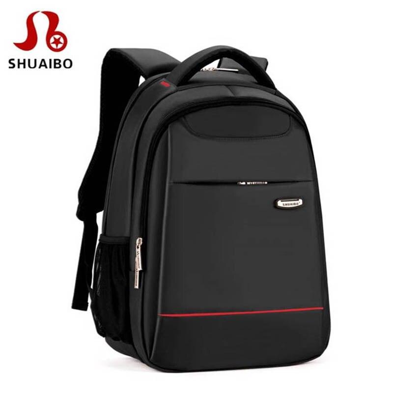 SHUAIBO Brand School Bags For Teenage Girls College School Backpack For Boys Waterproof 15 inch Laptop Bag Men's Backpack Kids