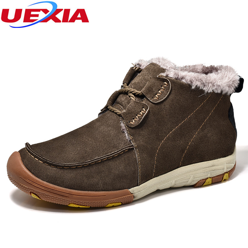 UEXIA New Outdoor Warm Men Boots Cow Suede Leather Ankle Boots Men Plush Fur Top Quality Winter Men Shoes Fashion Zapatos Hombre plush casual suede shoes boots mens flat with winter comfortable warm men travel shoes patchwork male zapatos hombre sg083