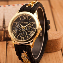цена на 2015 New Famous Brand Gold Alloy Chain Geneva Casual Quartz Watch Women Silicone Watches Relogio Feminino Wristwatches Hot Sale