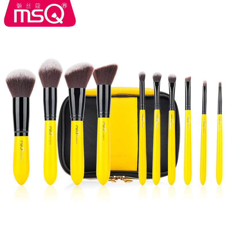 MSQ 10PCS Professional Makeup Brushes Set Powder Eye Shadow Blending Foundation Lemon Yellow Brush Cosmetics Beauty