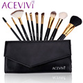 HOT !! Professional 10 pcs Makeup Brush Set tools Make-up Toiletry Kit Black/Rose Red #y