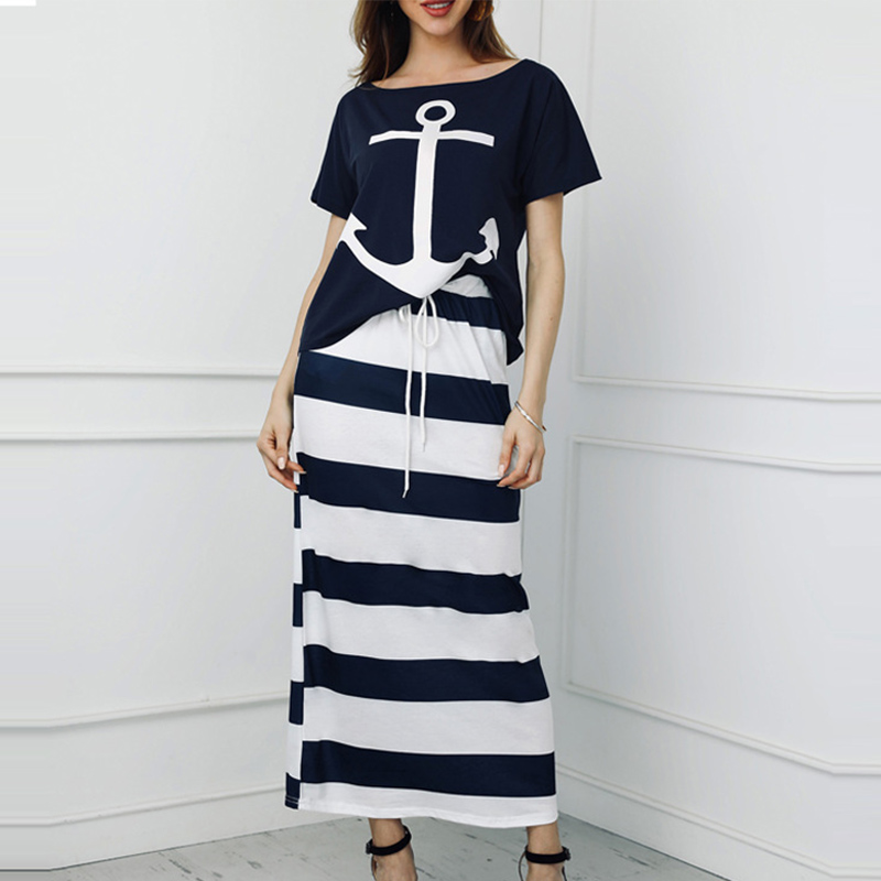 Women's 2 Piece Sets Boat Anchor Print T-Shirt And Striped Skirt Two Piece Set Women 2020 Spring Streetwear Casual Female Suits
