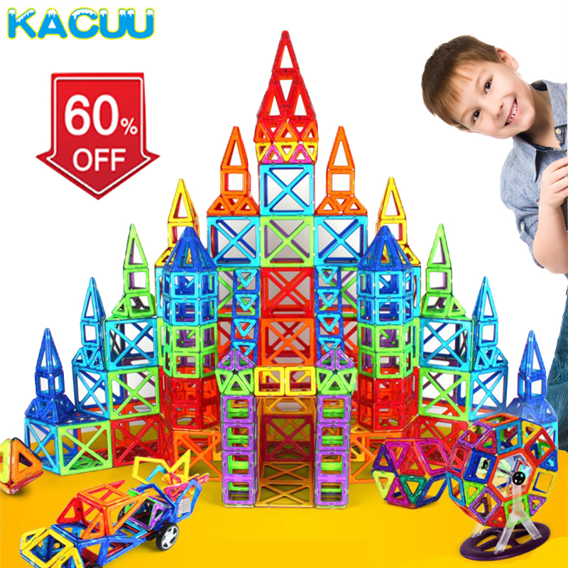 KACUU Magnetic Blocks Standard Size DIY Magnetic blocks Magnet Pulling Magnetic Building Blocks Assembled Toys For Children Gift 2017 hot sale forest animals children assembled diy wooden building blocks toys baby toy best gift for children ht2265