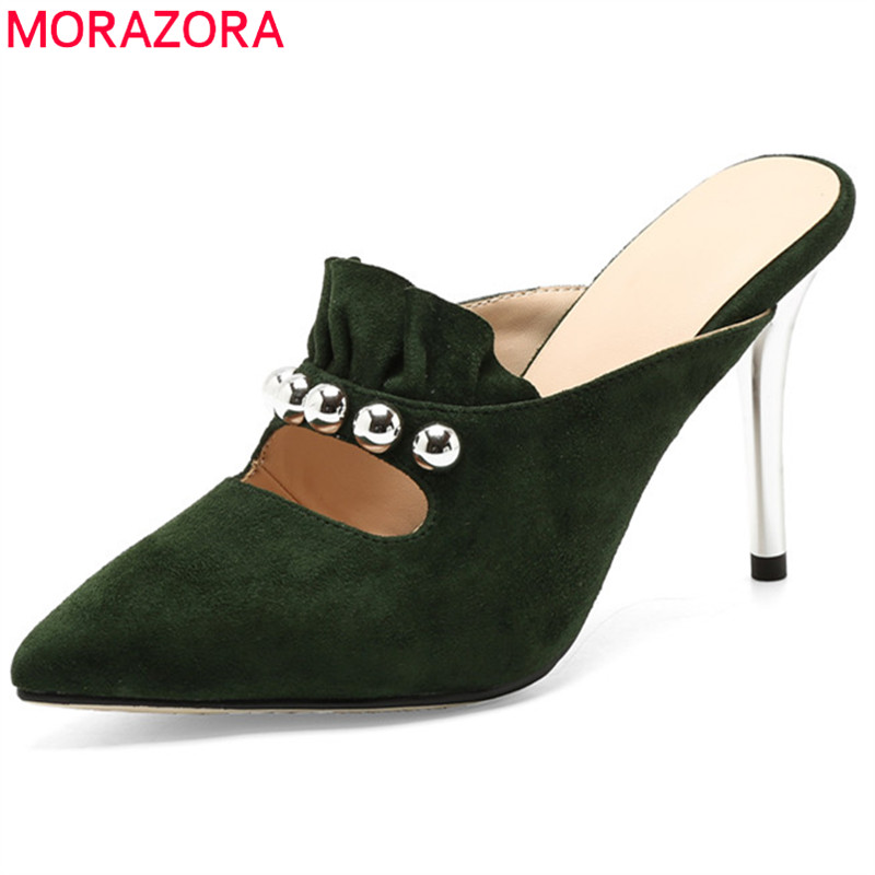 MORAZORA big size fashion new 2018 shoes woman pointed toe shallow solid thin heel pumps women shoes suede leather high heels big size 40 41 42 women pumps 11 cm thin heels fashion beautiful pointy toe spell color sexy shoes discount sale free shipping