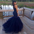 Azul marinho Longo vestido de Princesa Sereia Africano Halter Frisada Formal Vestidos de Noite da Festa de Formatura do baile de Finalistas vestido de longo de festa