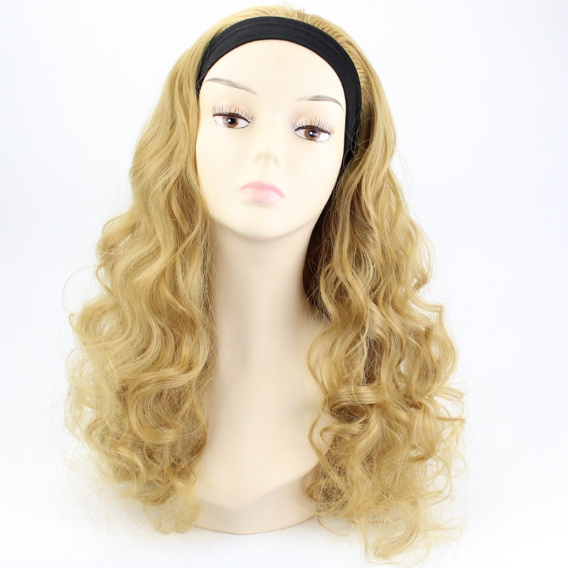 JOY&BEAUTY 20inch Black Brown Golden Bug Synthetic Half Wig Long Curly Hair Wigs With Headbands Natural Cut Hair Style For Women
