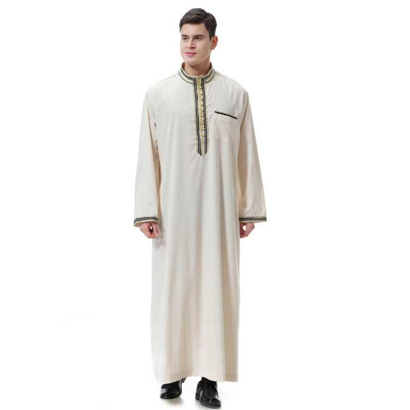 ファッション男性ローブイスラム教徒衣類長袖刺繍アラブドバイインド中東イスラム男 Jubba トーブプラスサイズ 3XL
