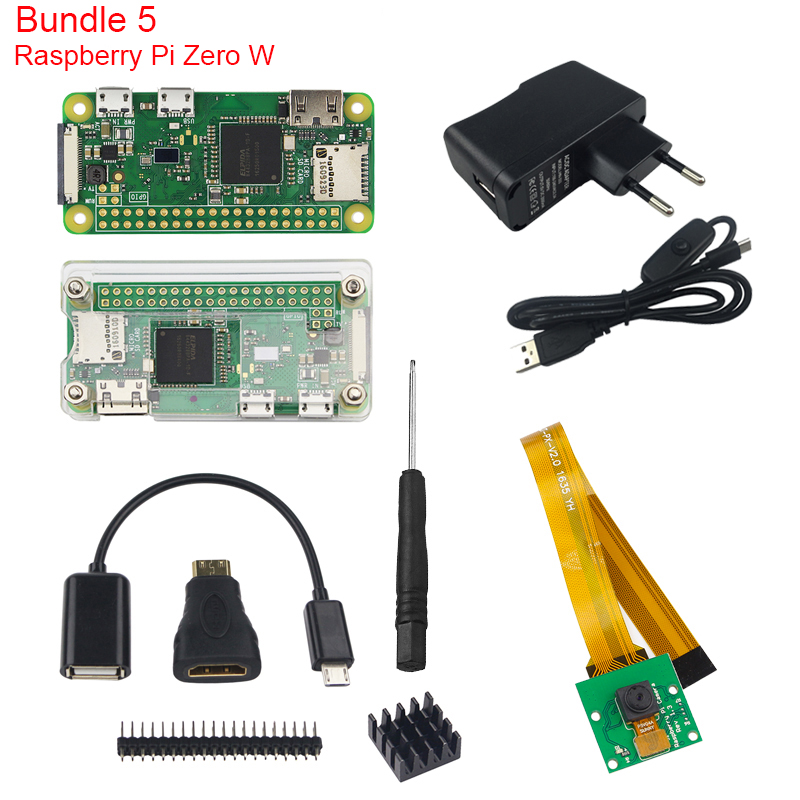 Raspberry Pi Zero W Kit + Official Case + Camera + Micro OTG Cable + GPIO Header + Mini HDMI Adapter + SD Card + USB Cable raspberry pi zero w basic starter kit raspberry pi zero 16g sd card power adapter acrylic case hdmi cable