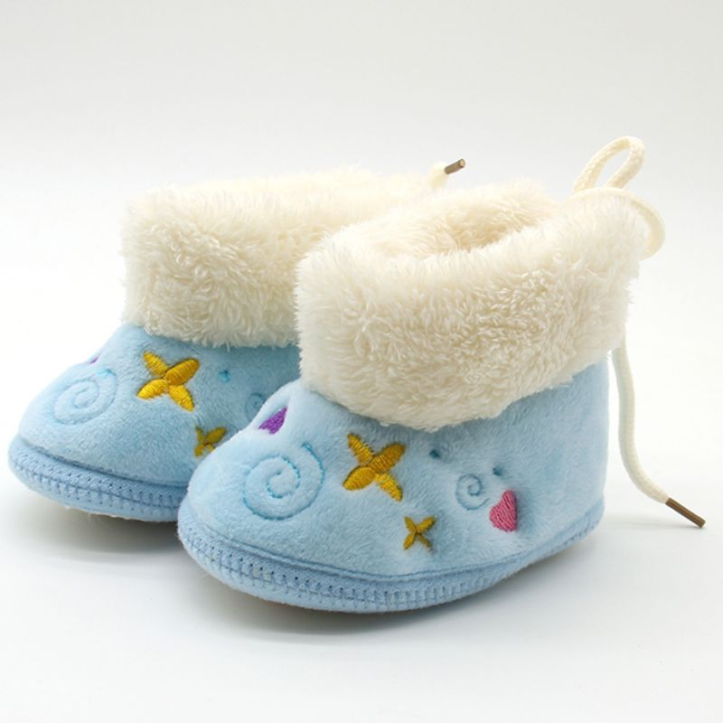 #97Lovely Newborn Girls Warm Soft Baby Shoes Non-slip Embroidery Snow Boots 0-18M