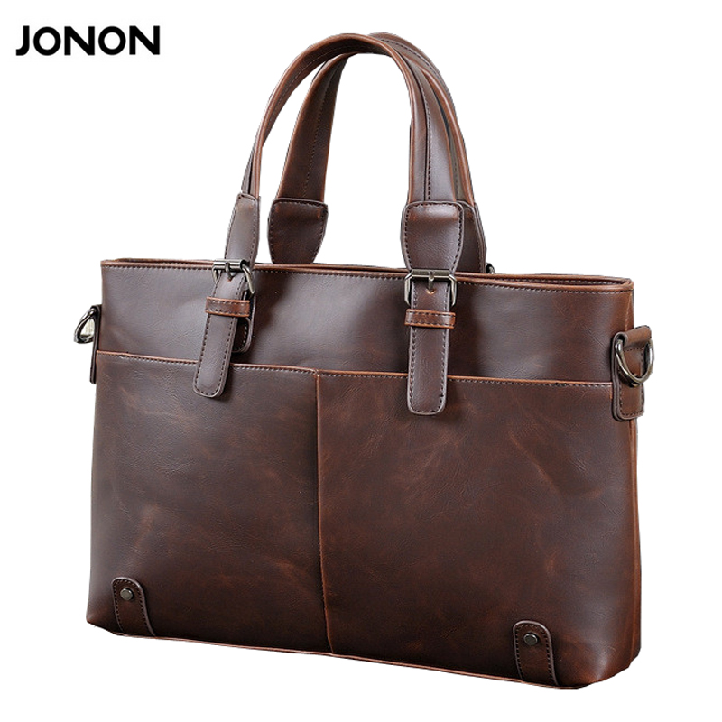 все цены на JONON 2016 Vintage Crazy Horse men's messenger bags Leather Shoulder Business Computer Briefcase Laptop Bag for 14 Inches онлайн
