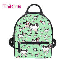 Thikin 2019 New 3D Printing Cute Cat Backpack for Women Girls PU Mini Leather Schoolbag Student Preppy Style Bag