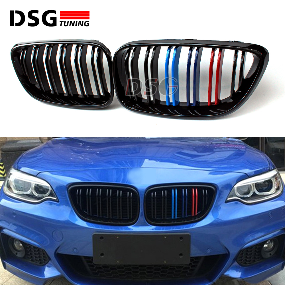 M2 style double slat tri-color F22 replacement black ABS bumper kidney grill for BMW 2014 2015 2016 2 Series 2-door F22 F23 F87 m performance f30 style tri color bumper grill for bmw 2012 2013 2014 2015 2016 sedan