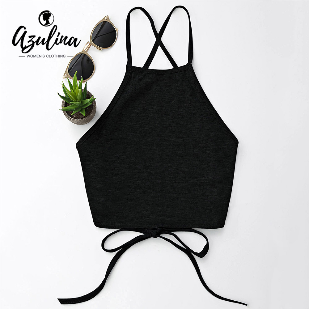 AZULINA Women Backless Bandage Tube Top Halter Sleeveless Lace Up Crop Top 2018 Summer Ladies Tops Causal Tank Top Women Clothes