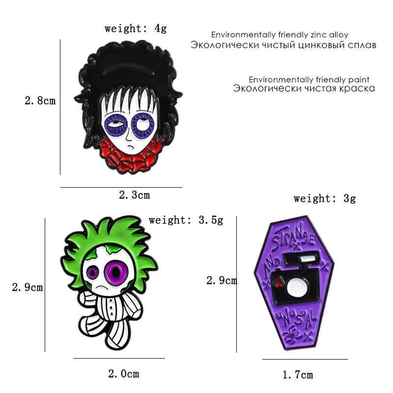 Vampiro gotico Terrore Horror Bambola Viola Bara Spilla Spilli Halloween Smalto Spille Per I Bambini Denim Pulsante Spille Distintivo Gioelleria raffinata e alla moda