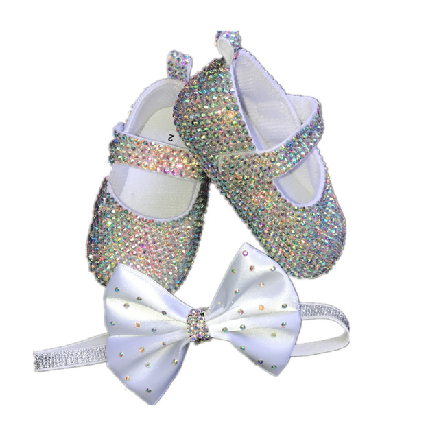 Dollbling Baby Girl Shoes Inlaid Rhinestone Elastic Band Baby Christening Shoes Comfortable Sole Baby Shoes Zapatos Bautizo Bebe
