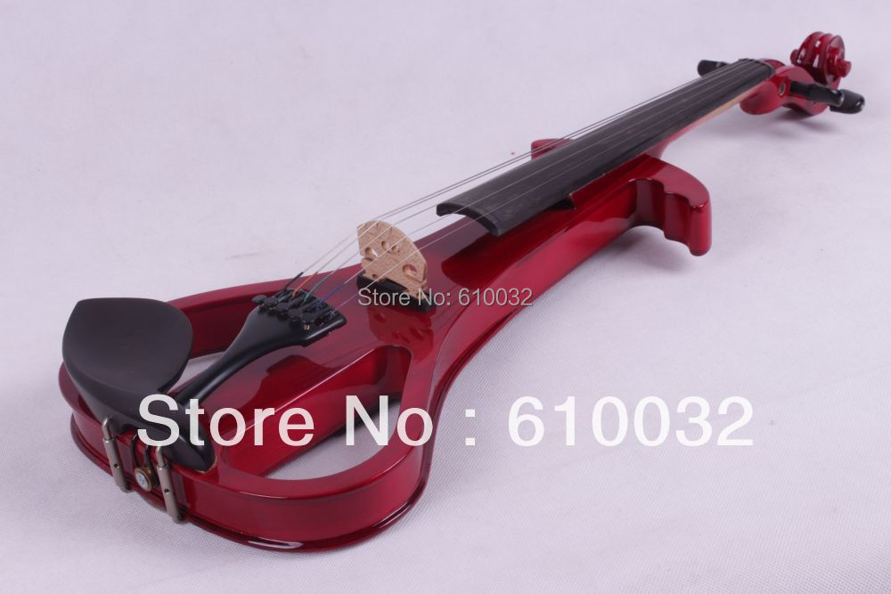 4/4 Electric Violin Solid wood Silent Pickup Fine #3-9  red    color 5   string new 4 string 4 4 electric acoustic violin patent silent fine sound 1
