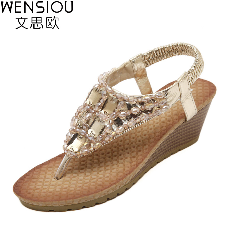 Summer Women Sandals Gladiator Bohemia fashion Platform Wedges Beach Sandal Flip Flops casual shoes Sandals women 2017 7-BT532 choudory bohemia women genuine leather summer sandals casual platform wedge shoes woman fringed gladiator sandal creepers wedges