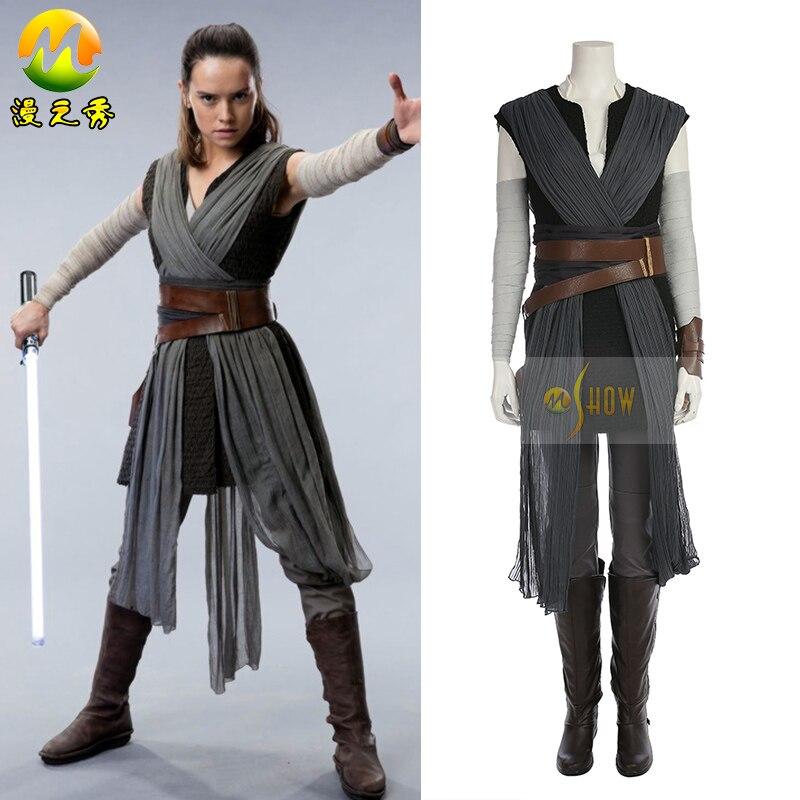 Nouveau Rey Cosplay Costume Star Wars La Dernière Jedi Cosplay Robe Pour Femmes Halloween Outfit Personnaliser Avec Bottes Faite