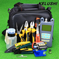 KELUSHI 23 em 1 Kit de Fibra Óptica FTTH Ferramenta com FC-6S Fiber Cleaver e Power Meter Óptico 10 mW Localizador Visual de Falhas de stripper
