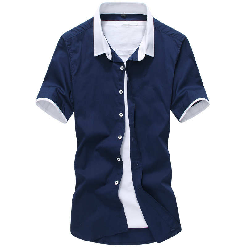 Pure color stitching shirt, men's short sleeve fashion, self-cultivation, leisure, big size men's shirt